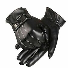 US  Men's Leather Winter Warm Super Driving Warm Gloves PU Fashion Outdoor