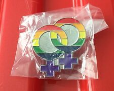 LGBT LESBIAN PIN BADGE GAY PRIDE BI GIRL RAINBOW GENDER SYMBOL SIGN SEXUALITY