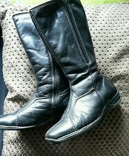 CLARKS BLACK  SOFT WEDGE HEEL LEATHER BOOTS SIZE 5 shoes formal  38