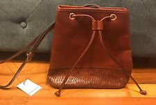 Etienne Aigner Brown Leather Woven Handbag Crossbody NWT Portofino Collection