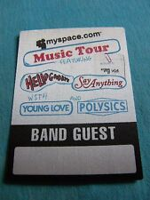 myspace.com Music Tour Hello Goodbye Young Love Satin Backstage Pass Sticker