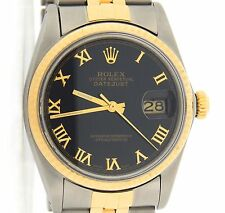 Rolex Datejust Men Two-Tone 18K Gold & Stainless Steel Watch Jubilee Black Roman