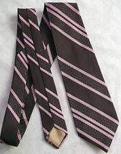 Burton Vintage Wide Tie retrò anni'70 A Righe A Strisce Rosa scuro Borgogna mod Dandy