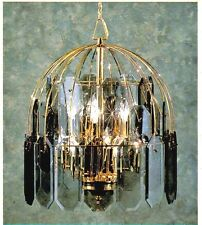 MOBILITE 8769 Polish Brass SMOKE GLASS PANEL 10Lt Ceiling CHANDELIER Fixture NEW