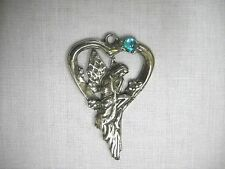 NYMPH PIXIE FAIRY ON HEART SWING w BABY BLUE CRYSTAL GEM PEWTER ADJ NECKLACE