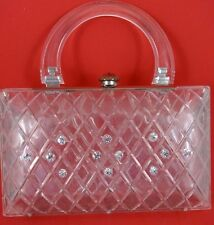 Vintage Lucite Hard Case Small Purse Rhinestones Rounded Handle AS IS