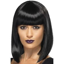 Womens R'n'B Star Wig Jessie Black Short Blunt Cut Bob w Fringe Fancy Dress J