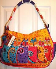 Laurel Burch Feline Tribe medium canvas bag with cat prints