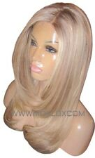 "Human Hair Wig Glueless Front Lace 18"" Long Layered Ash Brown Blonde 9 60 Moklox"