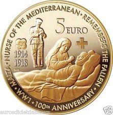 """Pièce 5 euros Malte 2014 """"Centenaire de la 1ière Guerre Mondiale"""""""
