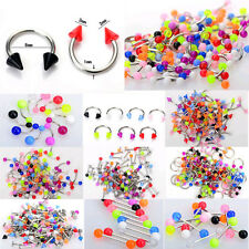 45pcs Mixed Wholesale Tongue Eyebrow Lip Belly Navel Ring Body Piercing Jewelry