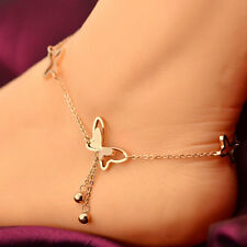 WOMEN BUTTERFLY CHARM ANKLE BRACELET GOLD DOUBLE CHAIN ANKLET FOOT JEWELRY GIFT
