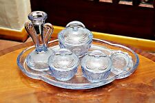 Vintage Blue Glass Dressing Set