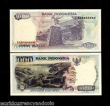 INDONESIA 1000 1,000 RUPIAH P129 SOLID # 444444 UNC 1992/1997 LAKE STONE NOTE