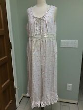 LAURA ASHLEY Sz L Floral Print Sleeveless Full Gown Cotton Pinks Greens White