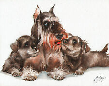 Original Oil Art MINISTURE SCHNAUZER Portrait Painting DOG PUPPY Signed Grey