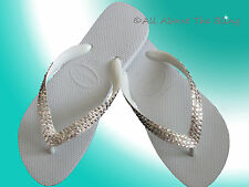 Havaianas Flip Flops white & Cariris Wedge with Swarovski Crystals Bride Wedding