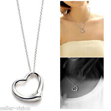 New Silver Plated Open Love Heart Pendant & Chain Necklace in Gift Bag Solid