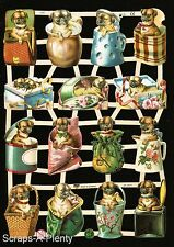 German Victorian Style  Embossed Scrap Die Cut - Dogs in Containers WOW  EF7342