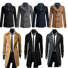 Men's Gent Slim Fit Double Breasted Overcoat Trench Coat Jacket Outwear Black XL