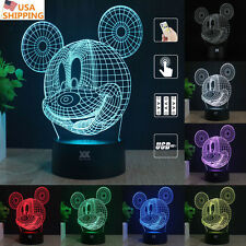 Mickey Mouse 3D Acrylic LED Night Light 7 Color Touch  Desk Table Art Lamp Gift