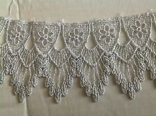 NEW 2 1/2 INCH SILVER  METALLIC FEATHER DESIGN VENISE LACE STYLE #JL272