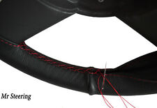 FOR LAND ROVER DISCOVERY II 98-04 BLACK LEATHER STEERING WHEEL COVER RED STITCH