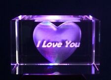 Birthday/Valentine  gift For Her. I Love You 3D Laser Engraved Block