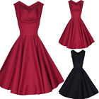 50s 60s Retro Red/Black Rockabilly Pinup Housewife Swing Party Evening Dress