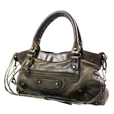 BALENCIAGA The Fast Shoulder Hand Bag Brown Leather Italy Authentic #2240