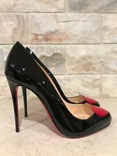 NIB Christian Louboutin Doracora 100 Black Patent Red Heart Heel Pump 37.5 $795