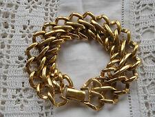 BELLA trama grossa Vintage 1980s Oro Catena Collegamento Bracciale firmato Monet