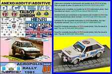 ANEXO DECAL 1/43 TALBOT SUNBEAM LOTUS H. TOIVONEN ACROPOLIS RALLY 1981 DnF (03)