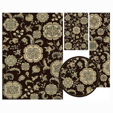 Traditional Oriental Brown Floral 4 Pcs Vines Leaf Area Rug Round Runner Ma