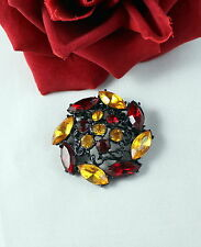 Vintage Japanned Amber & Red Rhinestone  Pin Brooch CAT RESCUE