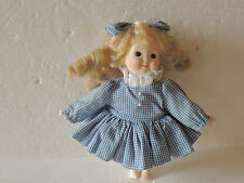 "10""  Porcelain Doll Blonde Hair With Blue Eyes Cloth Body Stand Inc. BEAUTIFUL"