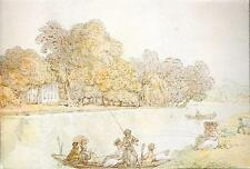 Runnymede, Surrey - Fishing near Magna Carta Island (Rowlandson) art postcard
