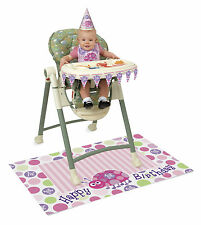 LADYBUG 1st Compleanno Baby Girls High Chair Kit Primo Festa Di Compleanno Rosa
