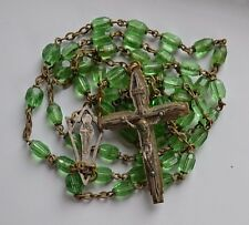 Antique Green Faceted Crystal Catholic Rosary double rings caped beads brass