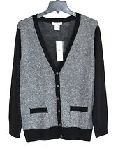 Joan Vass - S (4/6) - NWT - Black & Silver Boyfriend Cardigan Sweater - $118