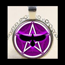 NEW - PENTAGRAM CROW TRIPLE MOON GODDESS GLASS OPTIC PENDANT NECKLACE