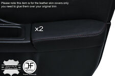 BLACK STCH 2X FRONT DOOR ARMREST LEATHER COVER FOR SUBARU IMPREZA WRX STI 01-04