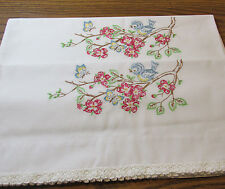 BEAUTIFUL VINTAGE EMBROIDERED BIRD AND FLOWER / FLORAL PILLOW CASES