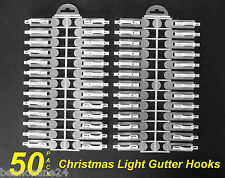 50 Pack Gutter Clips / Hooks for Christmas Fairy Lights