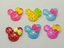 25 Mixed Color Resin Polka Dots Mouse Cabochon 18X15mm For Scrapbook Hair Bows