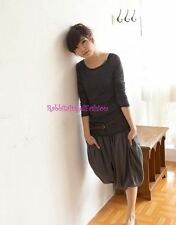 Japan Smocked Waist Pleated Slouch Bubble Pant Skirt! Gray FREE US SHIPPING