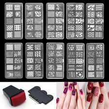 Set Nail Art Stamp Stencil Stamper Image Tips Stamping Template Plate Tools mei