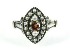 .10ct Natural Garnet & Seed Pearl Victorian Deco Sterling Filigree Ring  s7