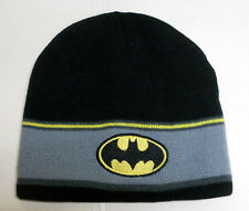 NEW DC COMICS BATMAN logo grey-black-yellow KNITTED BEANIE skull hat