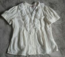 Ted Baker Cream Silk Frilled Blouse Top Size 4 / fits UK size 12 - 14